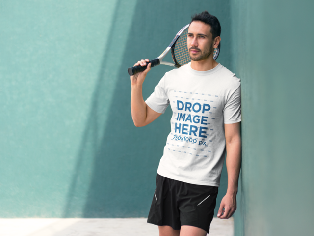 Young Man Playing Tennis T-Shirt Mockup a8031