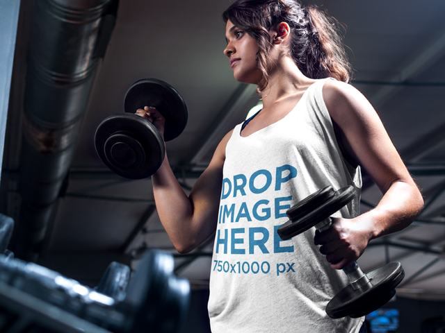 Woman Lifting Weights at the Gym Tank Top Mockup a7625