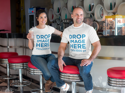 Couple Having Lunch at a Restaurant T-Shirt Mockup a8044