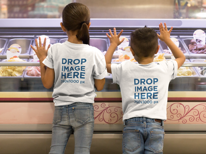 Two Kids at an Ice-Cream Parlor T-Shirt Mockup a8046