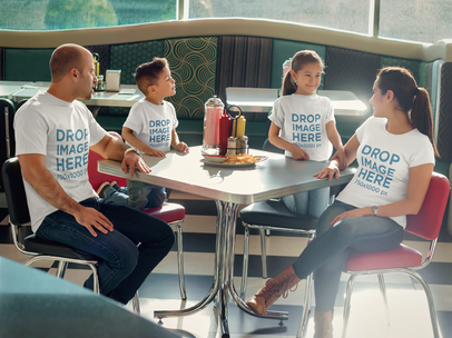 Family at a Restaurant Having Lunch T-Shirt Mockup a8034