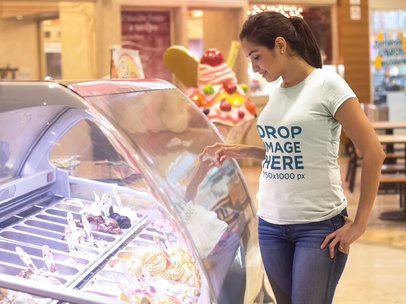 Young Woman at an Ice-cream Parlor T-Shirt Mockup a8042