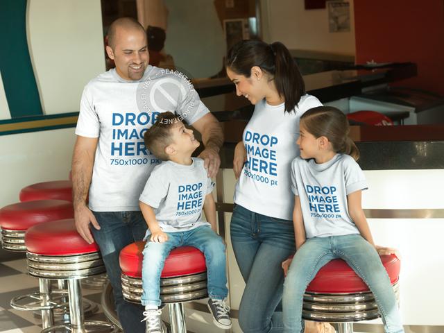 Family at a Burger Restaurant T-Shirt Mockup a8038