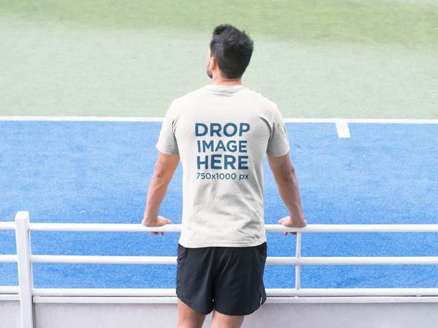 Man Watching a Tennis Match T-Shirt Mockup a8033