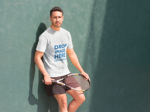 Athletic Man Playing Tennis T-Shirt Mockup a8023