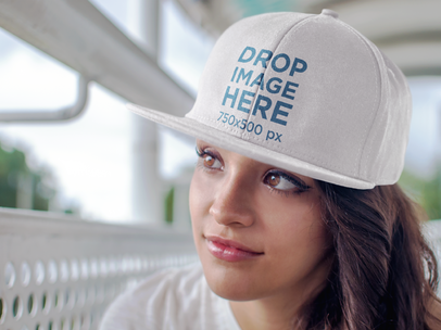 Close Up of a Beautiful Woman Wearing a Hat Mockup a7659