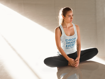 Young Woman Practicing Yoga Tank Top Mockup a8010