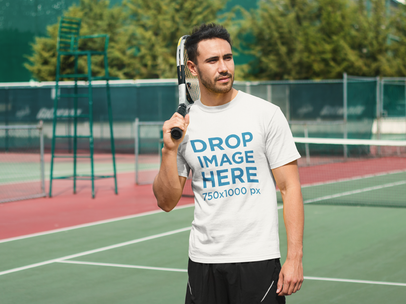 Athletic Man Playing Tennis T-Shirt Mockup a8019