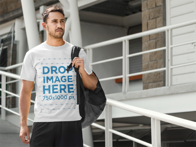 Man On His Way to Soccer Practice T-Shirt Mockup a8025