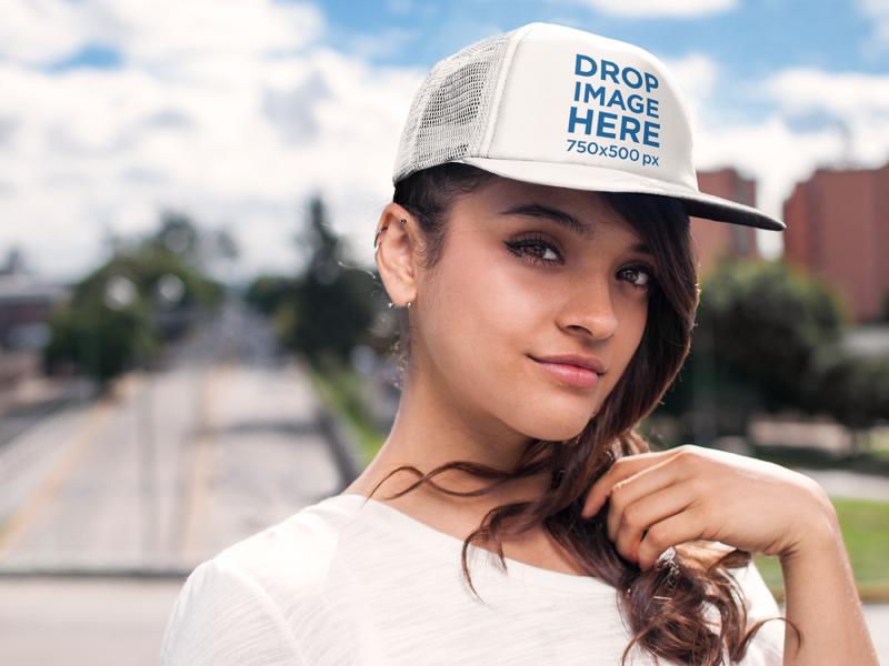 woman trucker hat mockup