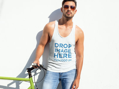 Handsome Man Leaning on a Wall Tank Top Mockup a7833