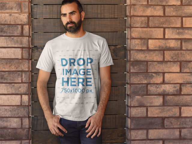 Bearded Man in Front of a Brick Wall T-Shirt Mockup a8220