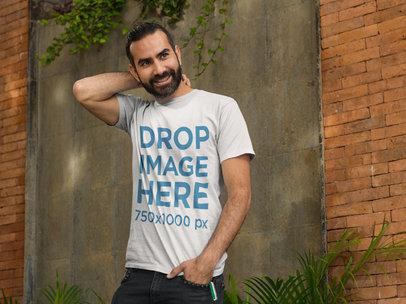 Man Standing Outside a Restaurant T-Shirt Mockup a8237