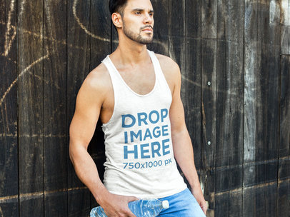 Man Leaning Against a Wooden Fence Tank Top Mockup a7836
