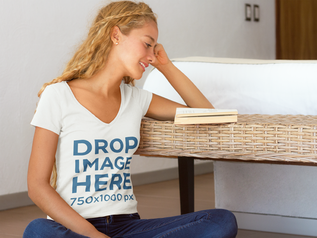Woman Reading a Book at Home T-Shirt Mockup a7796