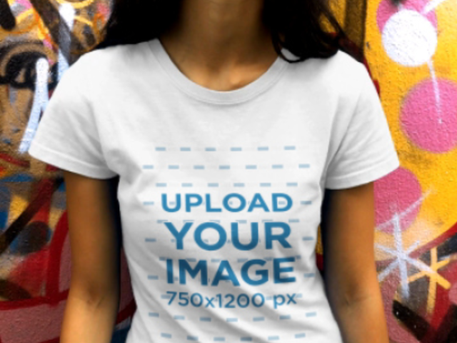 T-Shirt Video of a Dark-Haired Woman Featuring a Grafitti Wall 23260