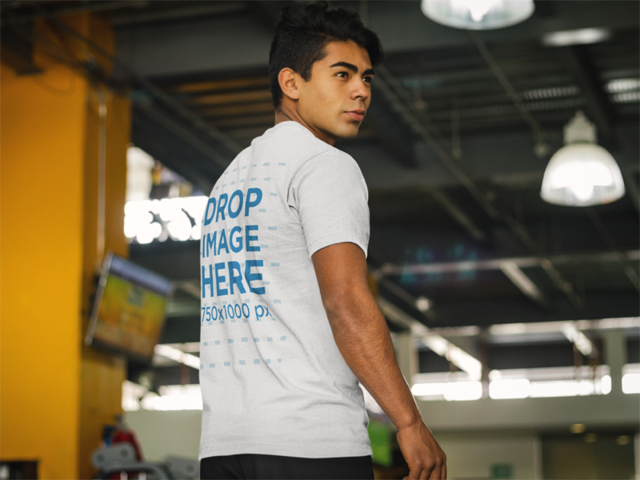 Back Shot of a Man at the Gym T-Shirt Mockup a8166