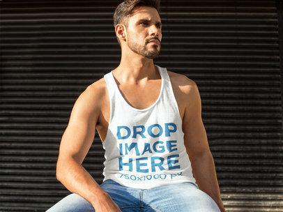 Handsome Man Sitting Outdoors Tank Top Mockup b7841