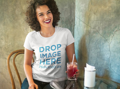 Woman Having a Drink at a Local Bar T-Shirt Mockup a8338
