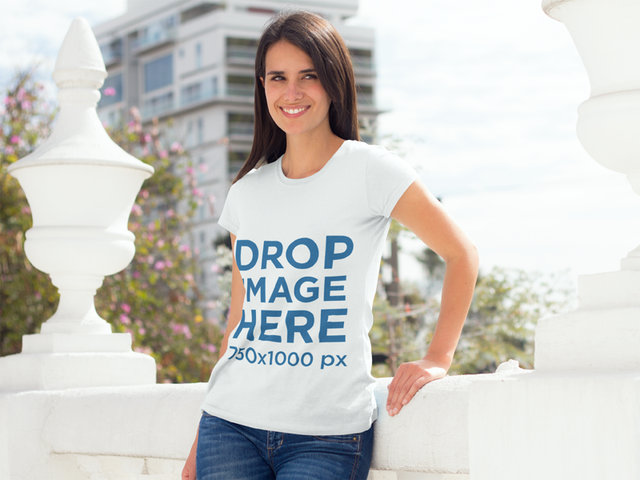 Woman Standing on a Roof Terrace T-Shirt Mockup a8352