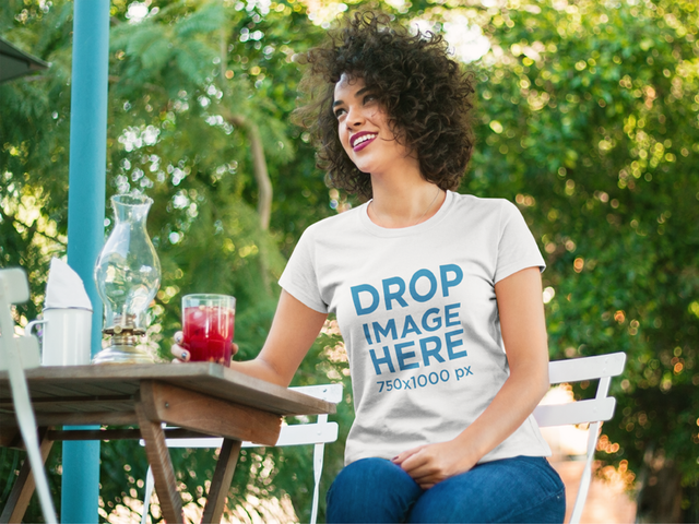 Woman at a Restaurant Having a Drink T-Shirt Mockup a8339