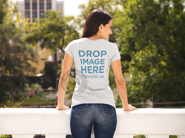 Woman Leaning on a Balcony T-Shirt Mockup