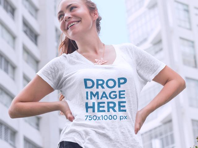 Young Woman in Urban Environment T-Shirt Mockup a8568