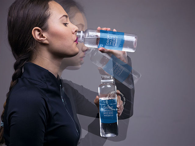 Motion Photo Mockup of a Young Woman Drinking Water a8429