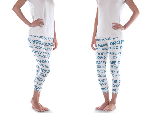 Woman Standing in Front of a Solid Backdrop Leggings Mockup a8563