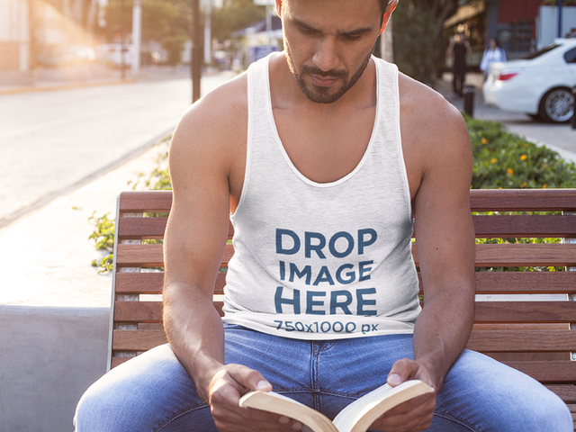 Man on the Street Sitting on a Bench Tank Top Mockup a7844