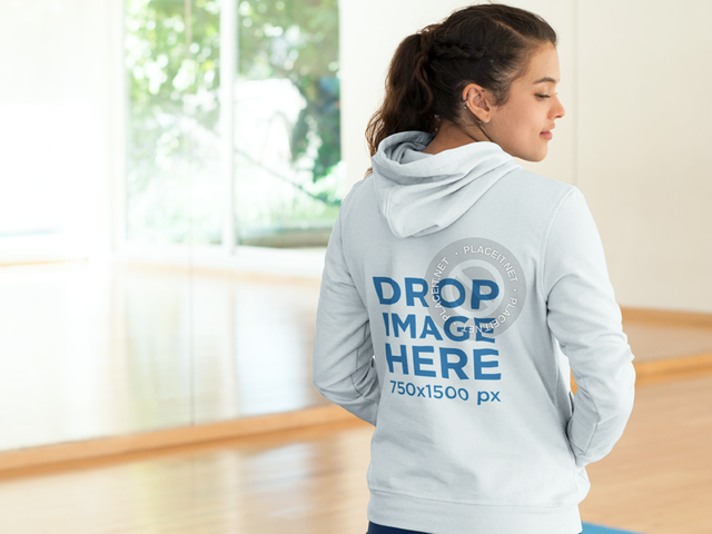 Hoodie Mockup Featuring a Man on his Way to the Park a8617
