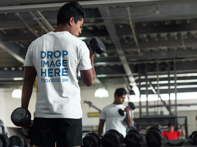 Man at the Gym Lifting Weights T-Shirt Mockup a8164