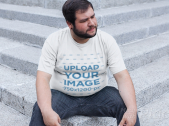 Plus Size T-Shirt Video of a Man Sitting on the Stairs 12533