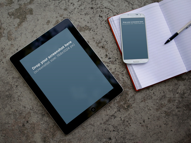 Mockups for Free! iPad Samsung Galaxy notebook pen Placeit Stage Image