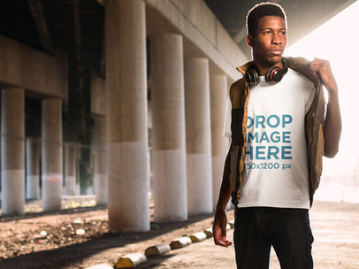 Black Man in Urban Environment T-Shirt Mockup a8813