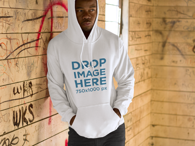 Black Man at a Warehouse Hoodie Mockup a8759
