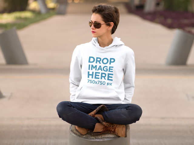 Hipster Girl in Urban Environment Hoodie Mockup a8795