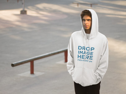 Hoodie Mockup of a Young Man at a Skatepark a8935