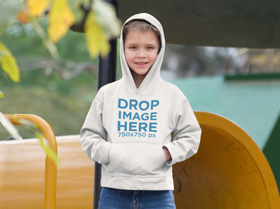 Hoodie Mockup of a Young Boy at a Playground a9103