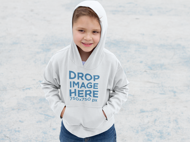 Small Kid at the Park During Winter Time Hoodie Mockup a9120