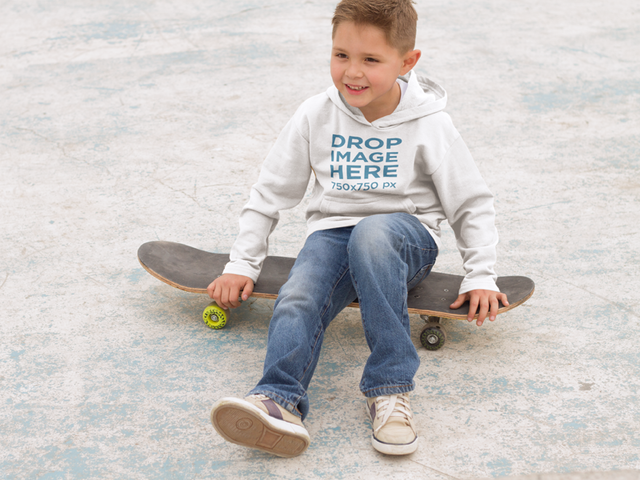 Small Kid at a Skatepark Hoodie Mockup a9117