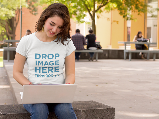 Girl at School Working on her Laptop T-Shirt Mockup a9182