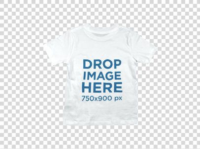 Kid's T-Shirt Over a Flat Backdrop Clothing Mockup b9030