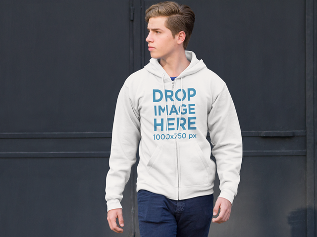 Zip Up Hoodie Mockup of a Young Man on the Street a9066