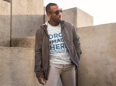 Stylish Black Man on the Street T-Shirt Mockup a9094