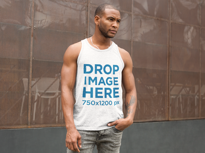 Man Standing Outside a Local Restaurant Tank Top Mockup a9351