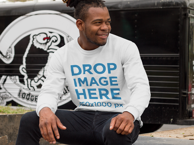 Man With Dreadlocks Sitting by a Food Truck Long Sleeve Mockup a9290