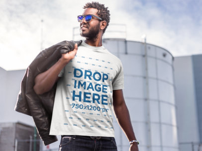Stylish Young Man at an Industrial Site T-Shirt Mockup a9526