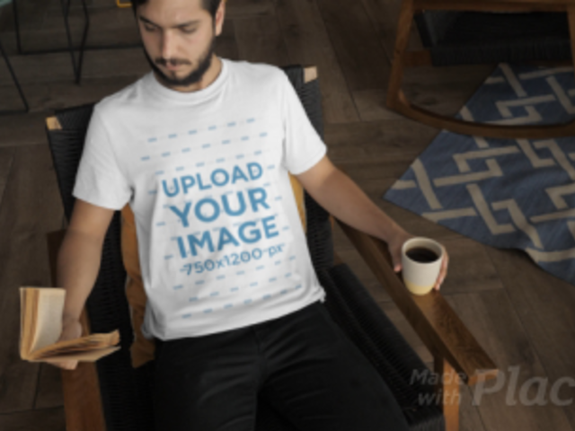 T-Shirt Video of a Man Sitting on a Rocking Chair 28922
