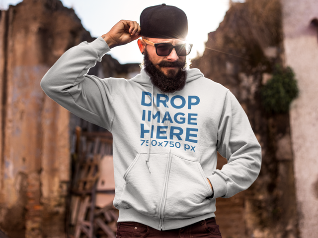 Bearded Hipster Man at Demolition Site Hoodie Mockup a9269-a